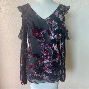 Blouse with velvet floral detail